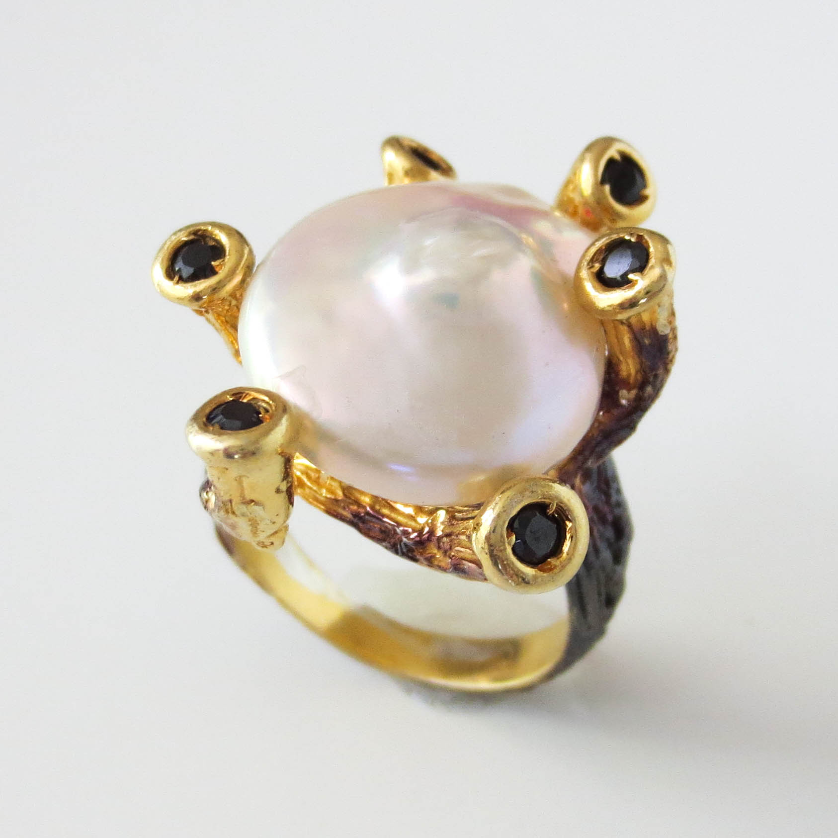Baroque Pearl & Onyx Hand Carved Ring available online