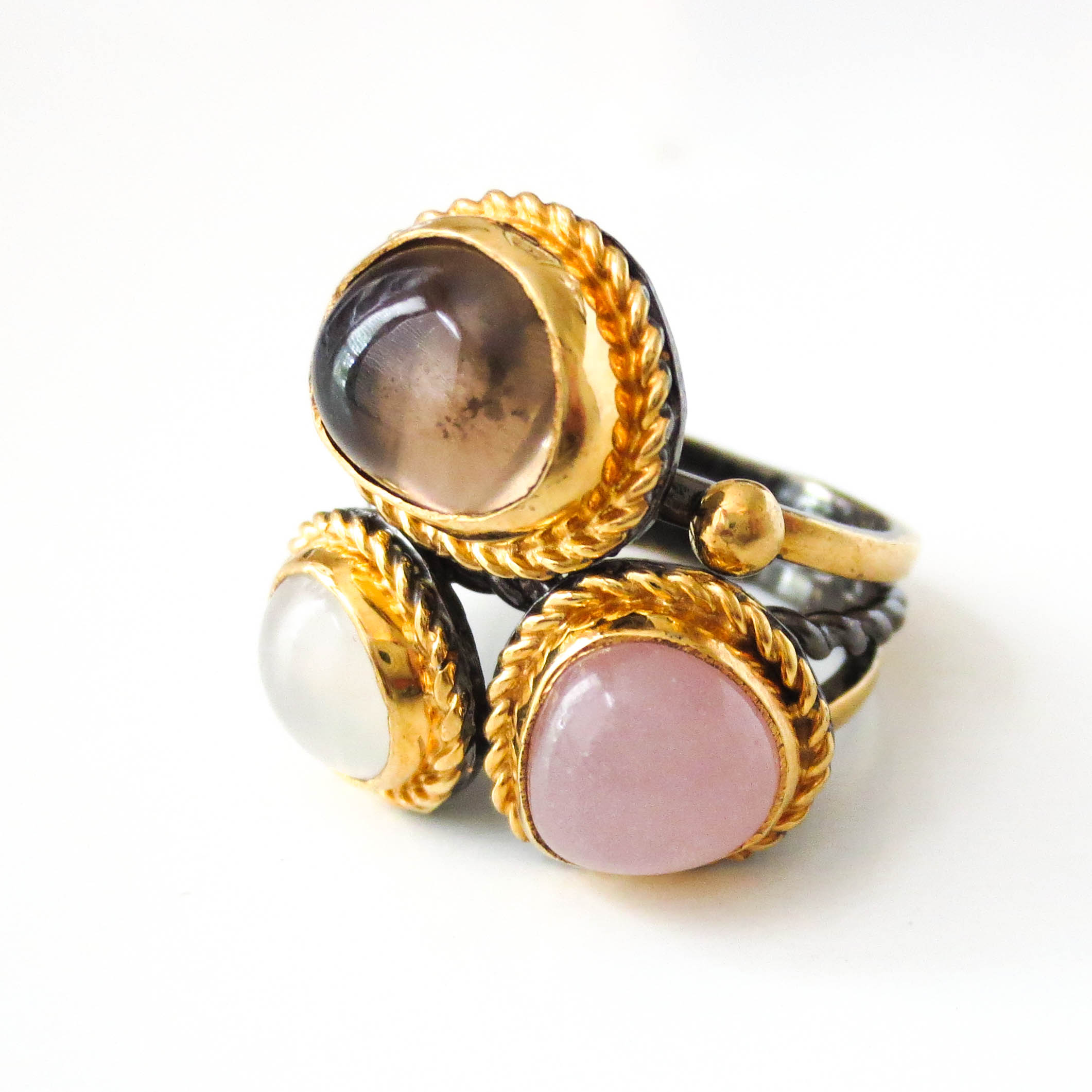 Golden Quartz Cluster Ring available online