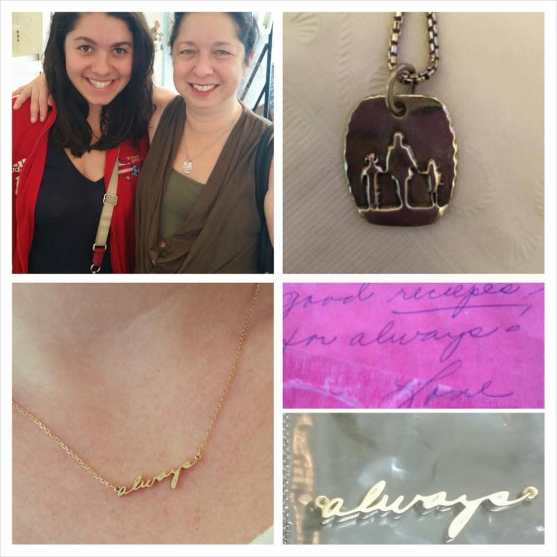 """Top: This silhouette pendant was created from a photograph taken of this Mom with her two daughters at the beach years ago.  Bottom: Her Grandmother wrote her letters that signed off with """"always"""". She now has her """"gam-gam"""" with her always..."""