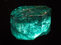 The Gachala Emerald is one of the largest gem emeralds in the world, at 858 carats (171.6g). This stone was found in1967 at La Vega de San Juan mine in Gachalá, Colombia. It is housed at theNational Museum of Natural History of theSmithsonian Institution in Washington,D.C.