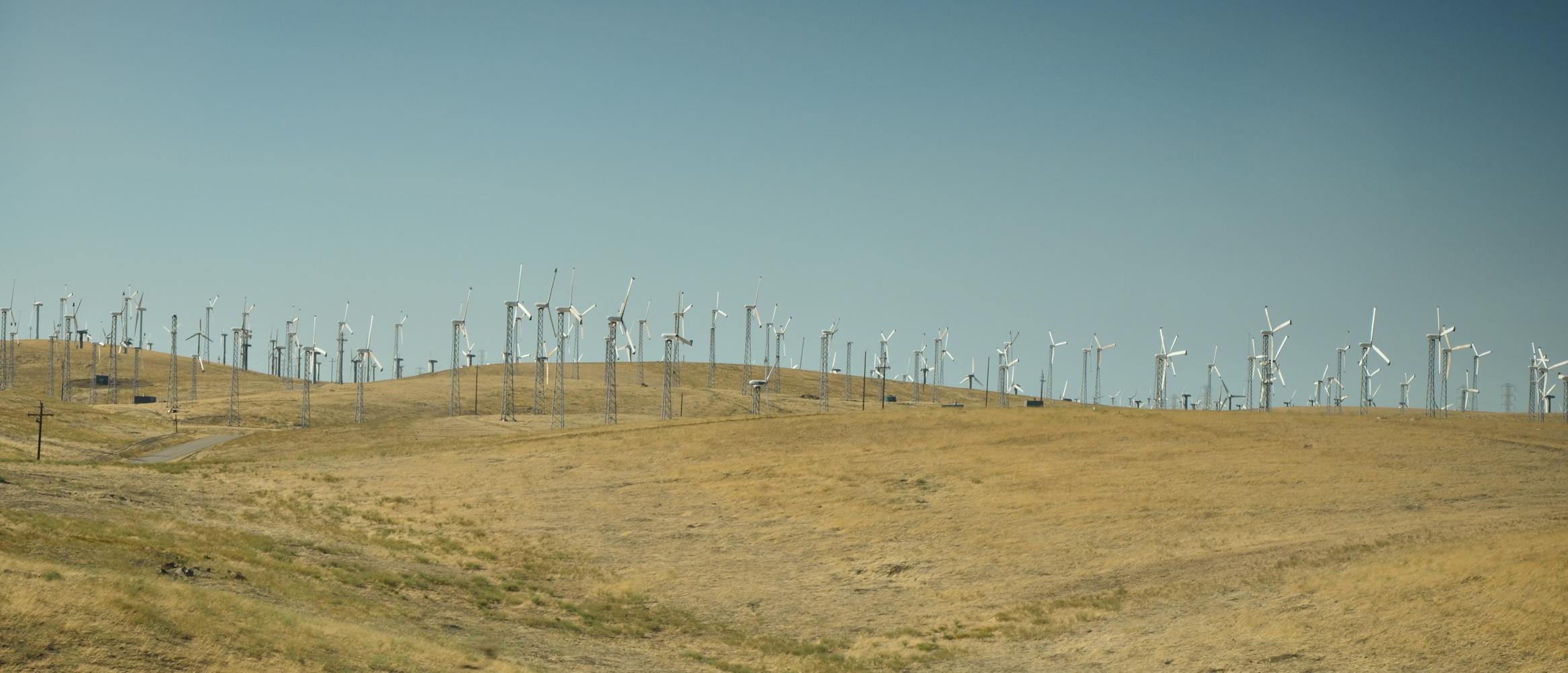 Wind Turbines on drought land