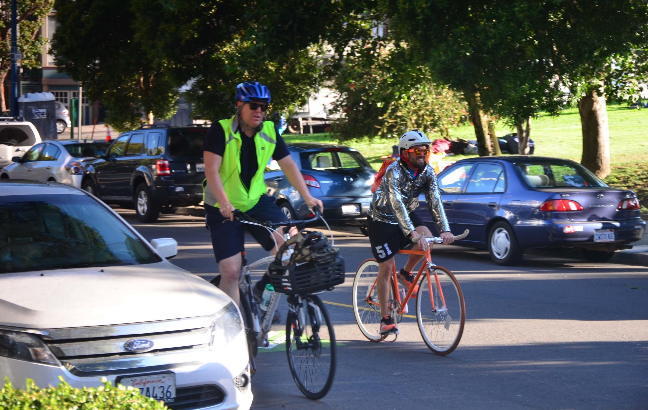 "Cyclists at ""The Wiggle"" Bike Path"