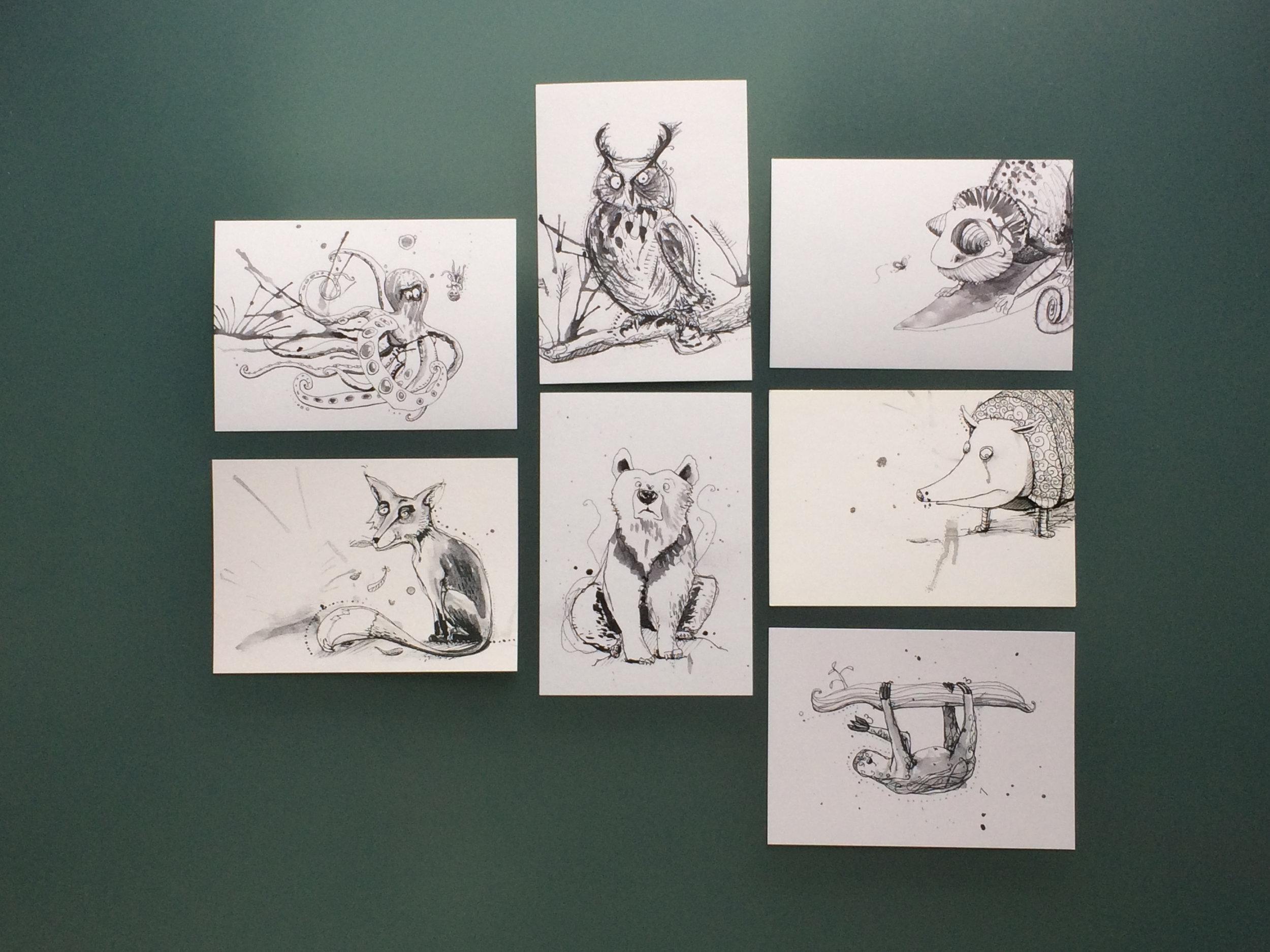 Selection of available Postcards / Auswahl an zu erwerbenden Postkarten