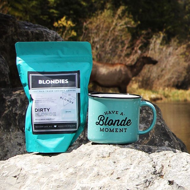 Bring on the caffeine ☕️ Take Blondies wherever you go! . . . . Our mugs are back in stock in Canmore! Pick one up with some of our freshly roasted beans and bring Blondies with you on those summer adventures. 💁🏼‍♀️ #haveablondemoment
