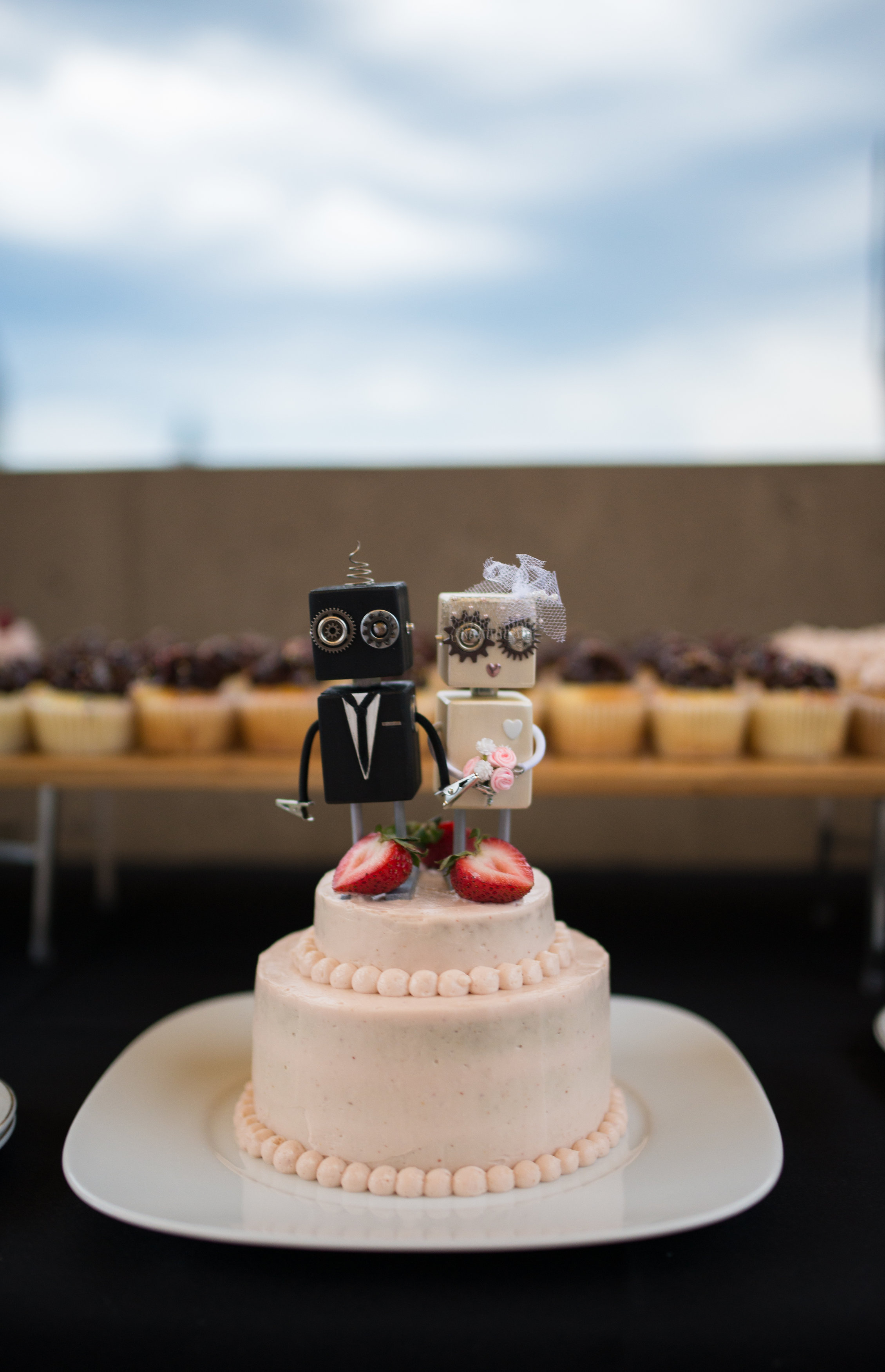 Robot Cake Toppers - They can be found on Etsy.  AdoptabotWorkShop