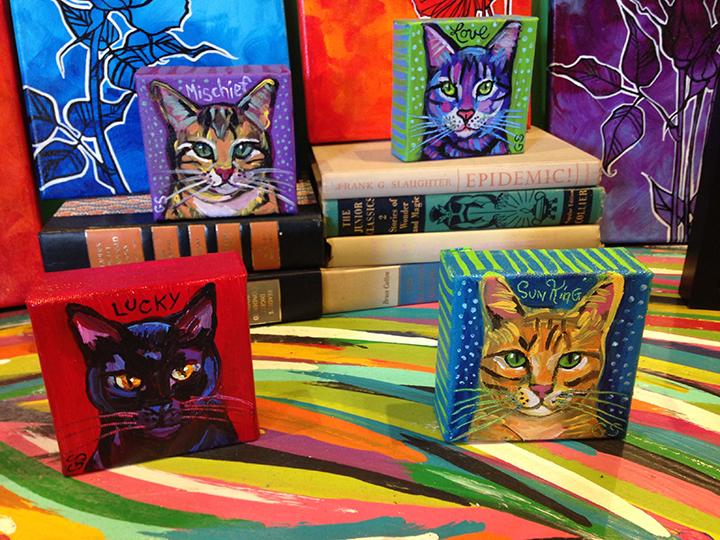 "4"" x 4"" Mini Cat Paintings"