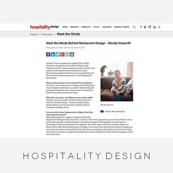 Wendy Haworth Design - Hospitality Design - Restaurant Designers Feature
