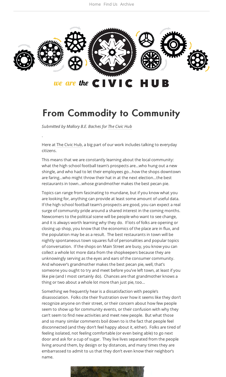 From Commodity To Community