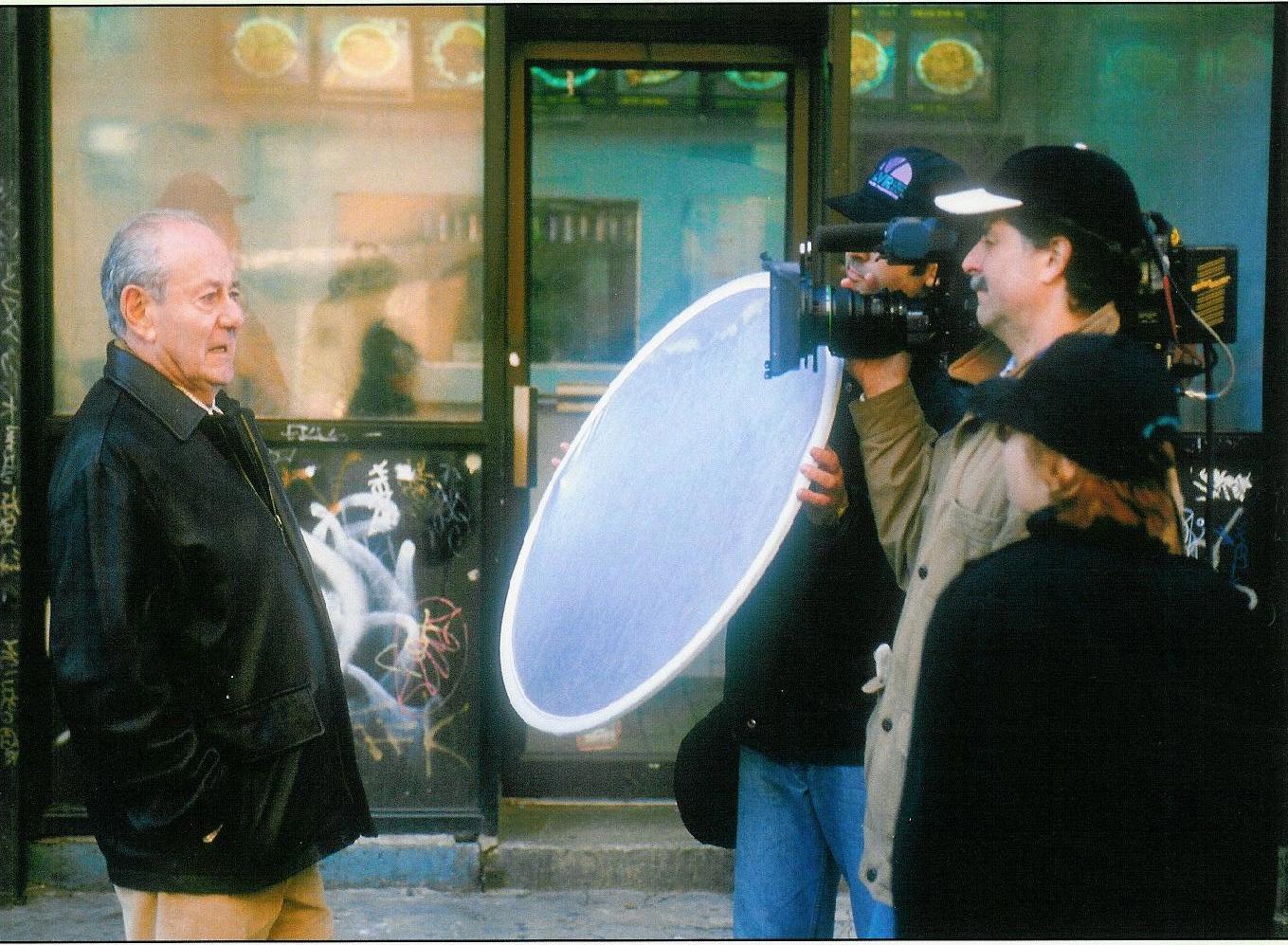 Director of Photography Dejan Georgevich and director Nina Rosenblum filming Walter Rosenblum