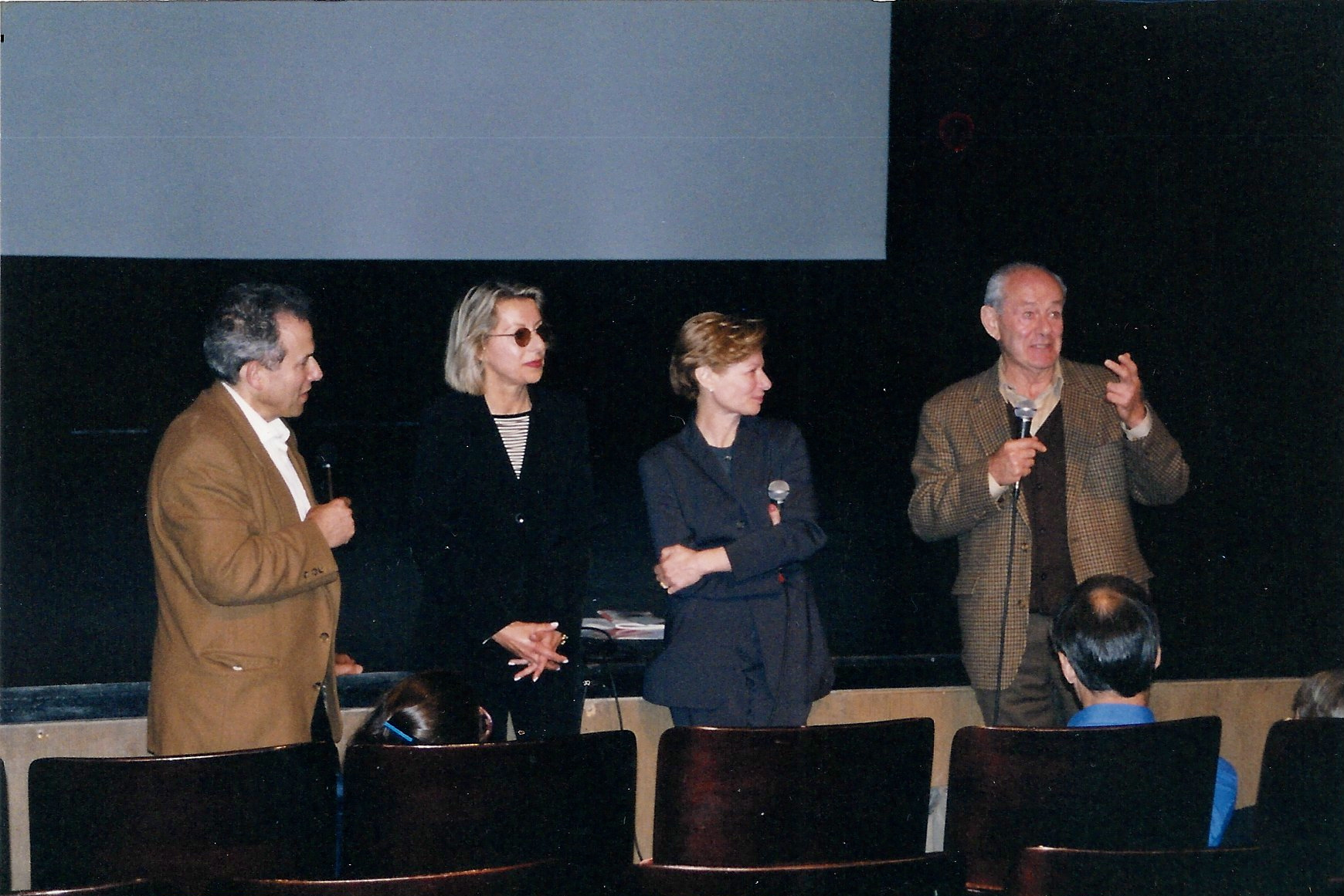 Producers Sonya Starr and Nina Rosenblum with Walter Rosenblum and Jerome Rudes, Director of the French-American Film Workshop at the film festival in New York