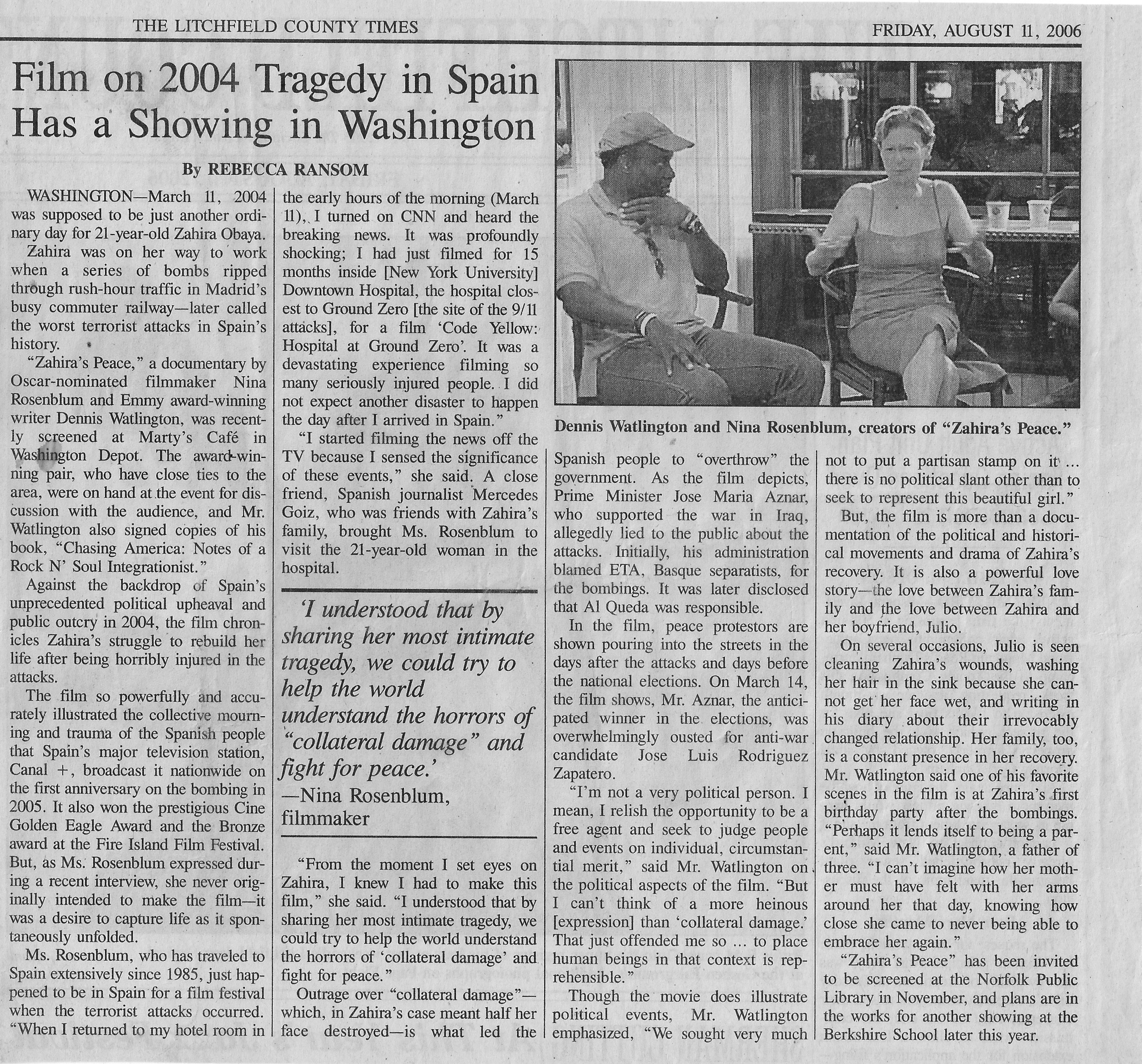 From  The Litchfield County Times, 2006
