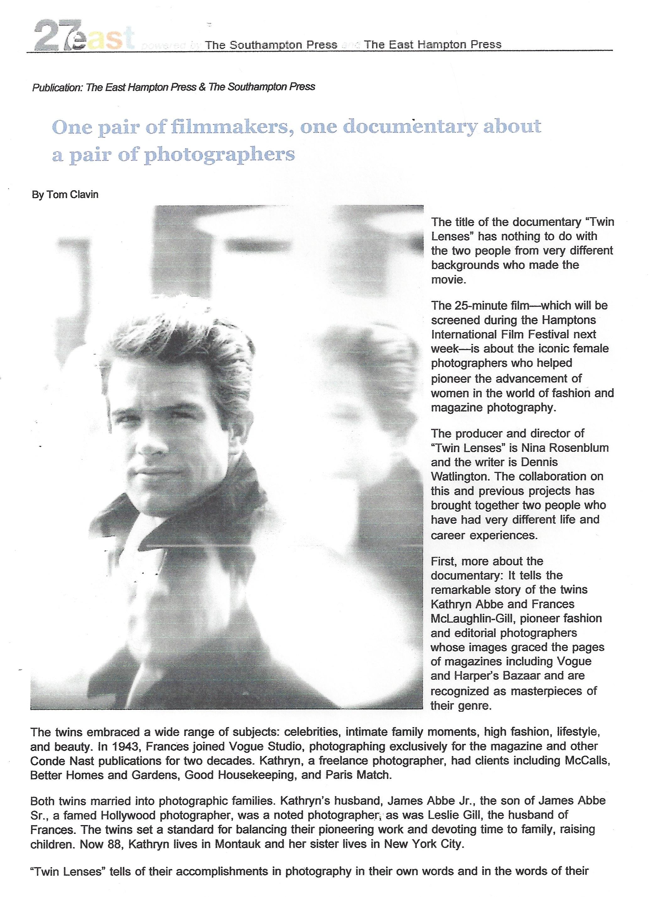 Southampton Press , article by Tom Clavin