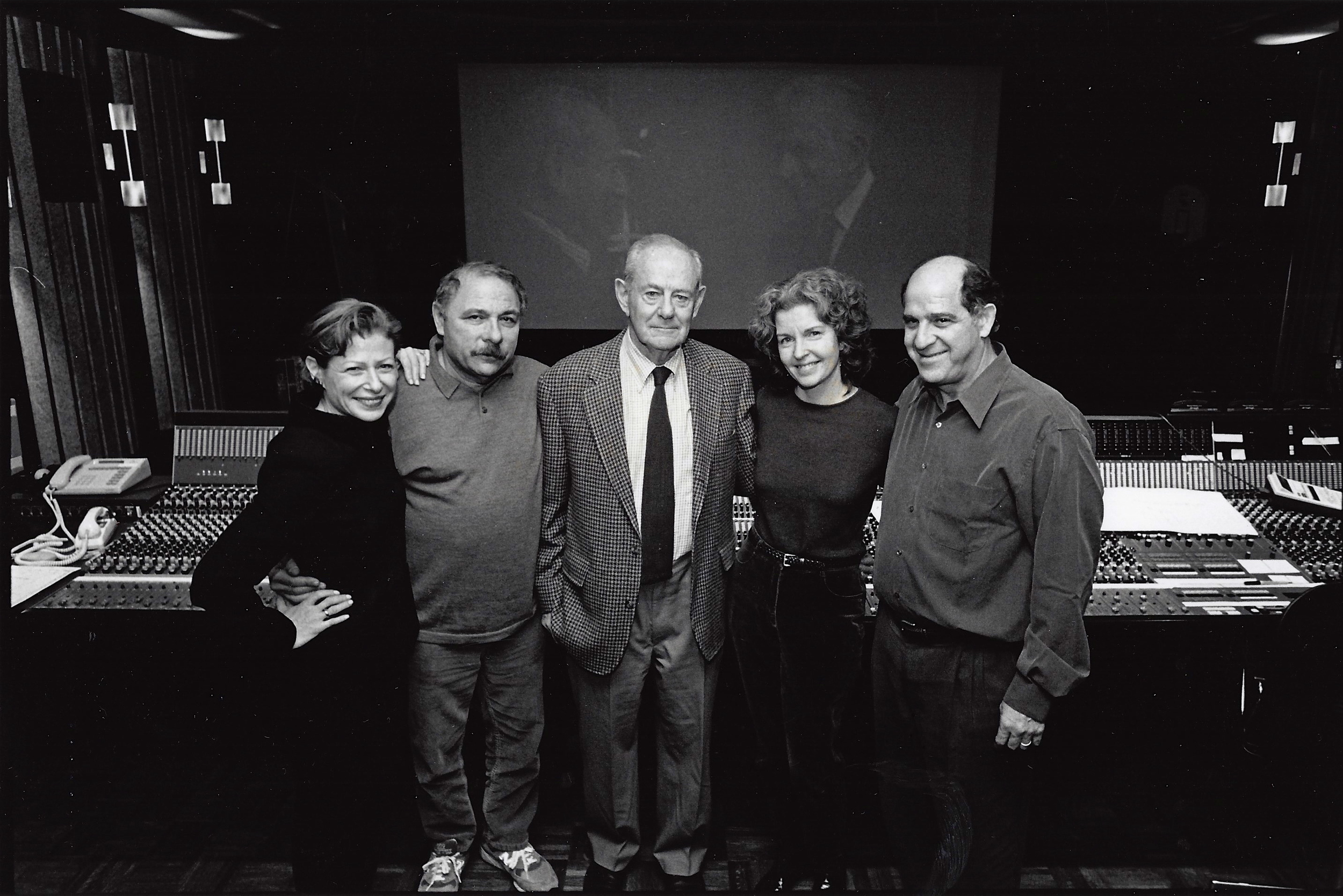 Nina and Walter Rosenblum with sound designer Maurice Schell, dialogue editor Laura Civiello and sound mixer Lee Dichter