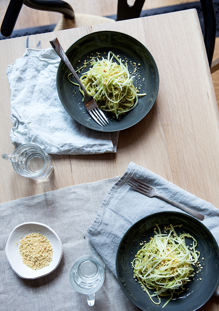 "broccoli stem spaghetti + creamy broccoli pesto + pine nut ""cheese"" (vegan) 