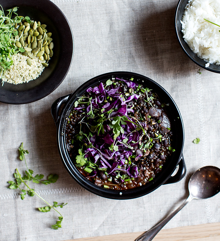 Beluga Lentil Black Bean Chili With Purple Cabbage Whats Cooking Good Looking