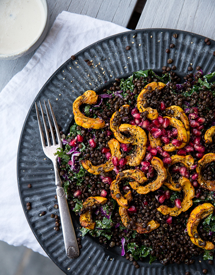 squash salad with lentils + pomegranates with a roasted garlic cashew cream   what's cooking good looking