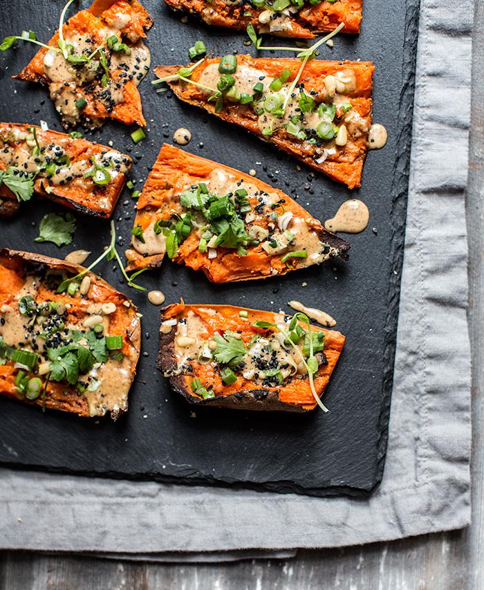 thai peanut sweet potato skins | what's cooking good looking