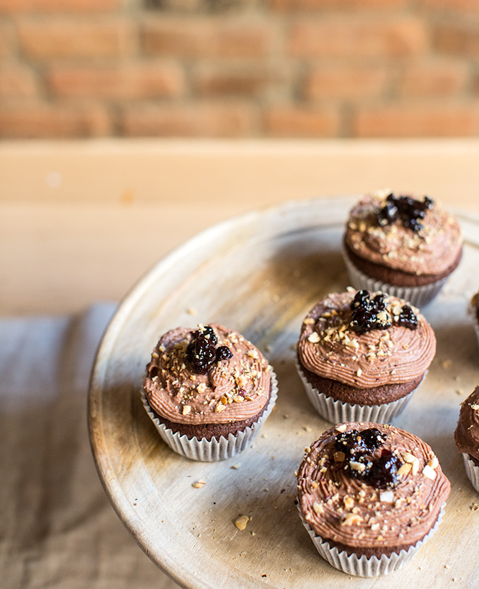 chocolate cupcakes + spiced cherry filling + chocolate ganache   what's cooking good looking