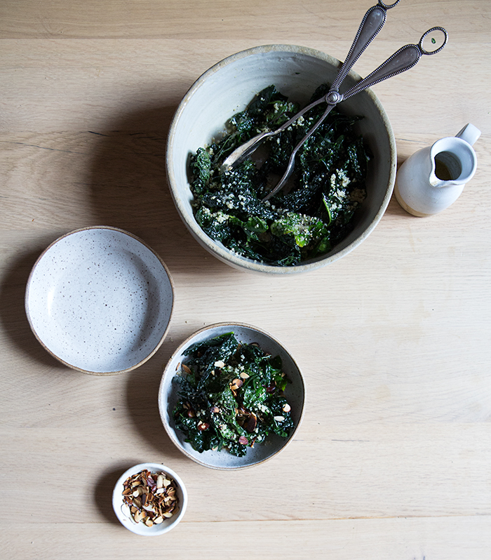 kale salad + sherry shallot vinaigrette   what's cooking good looking