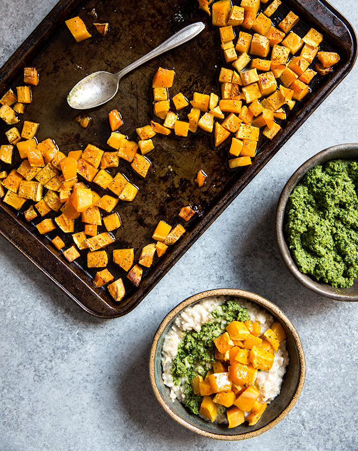 savory oatmeal with roasted butternut squash + sage and walnut pesto   what's cooking good looking