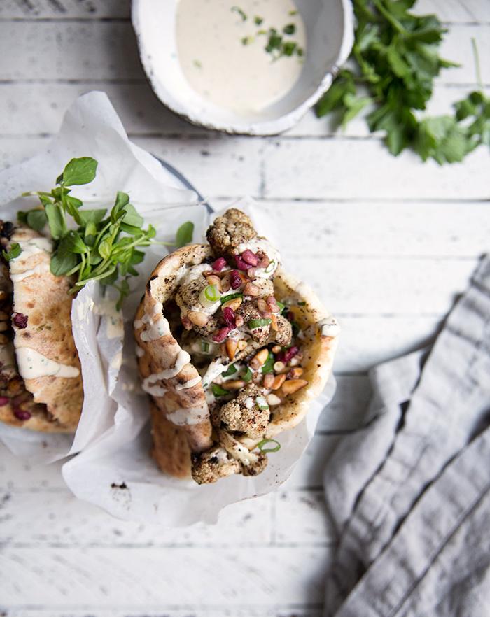 cauliflower shawarma + homemade (gf+df) chickpea pita bread   what's cooking good looking