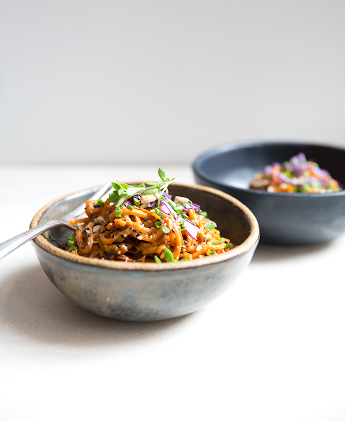 sweet potato noodles + sweet and spicy peanut sauce | what's cooking good looking
