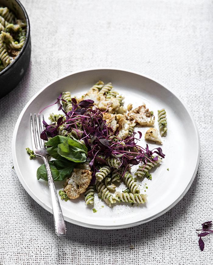 minty pea pesto pasta + crispy roasted cauliflower | what's cooking good looking