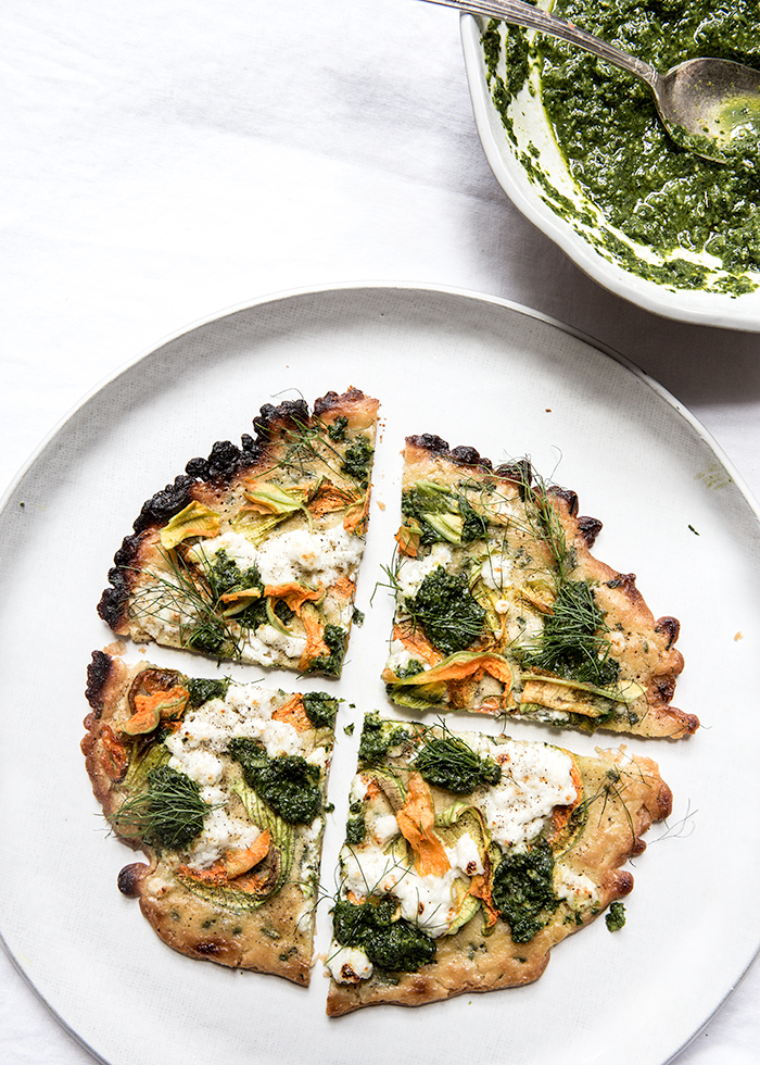 "squash blossom + pesto socca ""pizza"" 