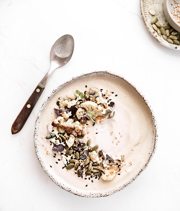 cauliflower + roasted garlic + tahini soup | what's cooking good looking