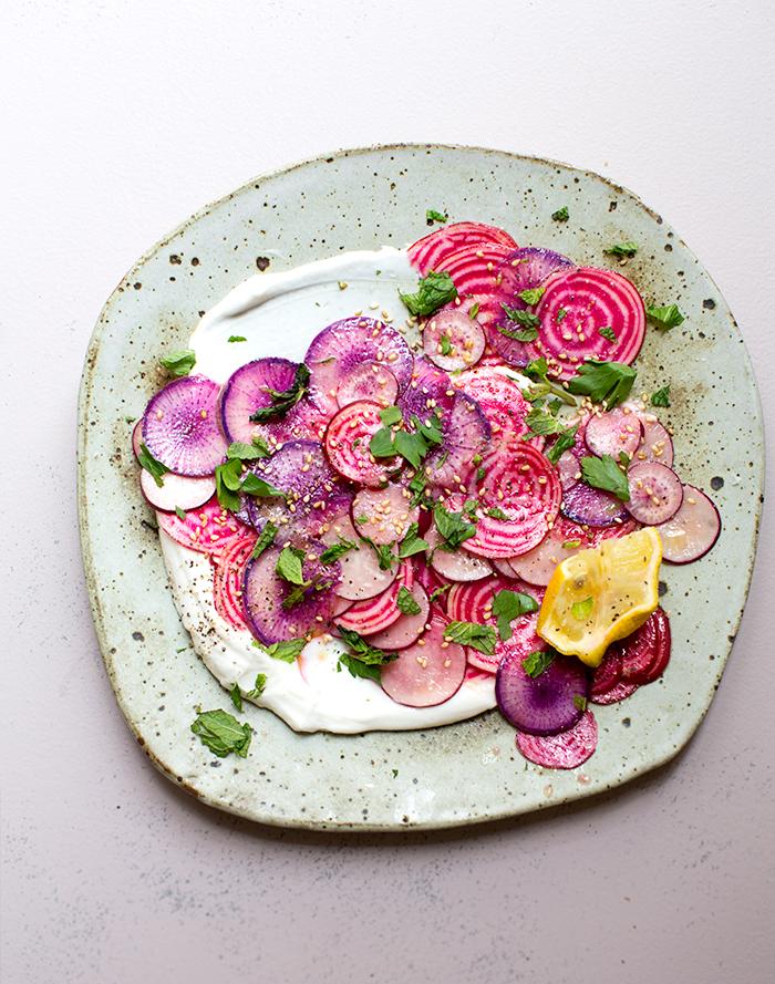beet + radish carpaccio with preserved lemon yogurt | what's cooking good looking