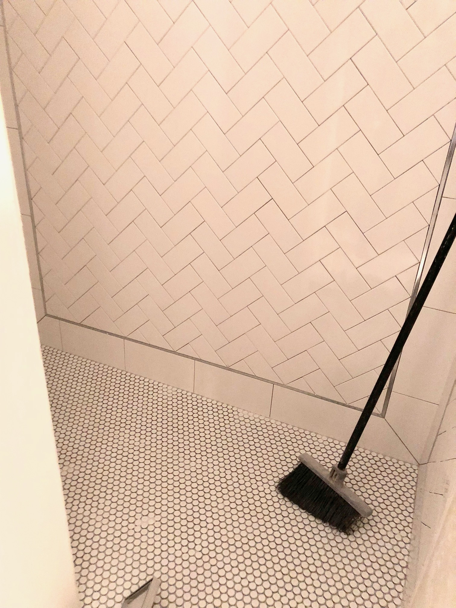 Just for fun, we thought we'd share the shower tile found in the casita bath as well. We love the penny-tile floor and herringbone pattern on the walls as they are both classics in our opinion!