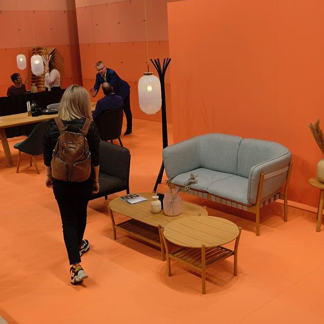 Our design director @panos_vsl presenting his design work for @ton_chairs at @isaloniofficial. See the Dowel series of seating and the Anix coffee tables at Hall 12 , stand B09/C14