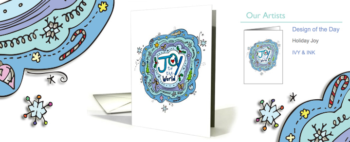 'Holiday Joy', an original illustration by Ivy & Ink is Design of the Day on Greeting Card Universe