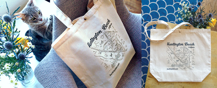 Everyone, including the studio cat, loves the illustrated map on VHB's new tote bags!
