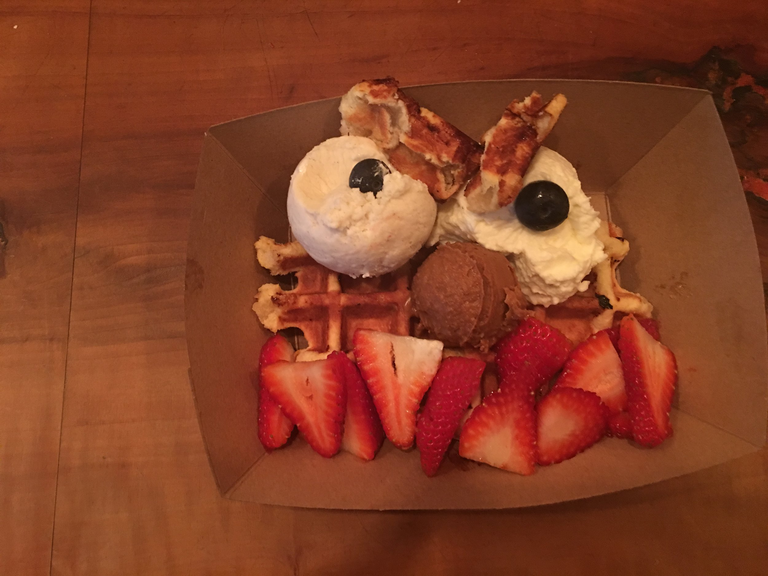 Welcome to The Waffle Monster. That lil dollop in the middle? That's biscoff spead. You're welcome.