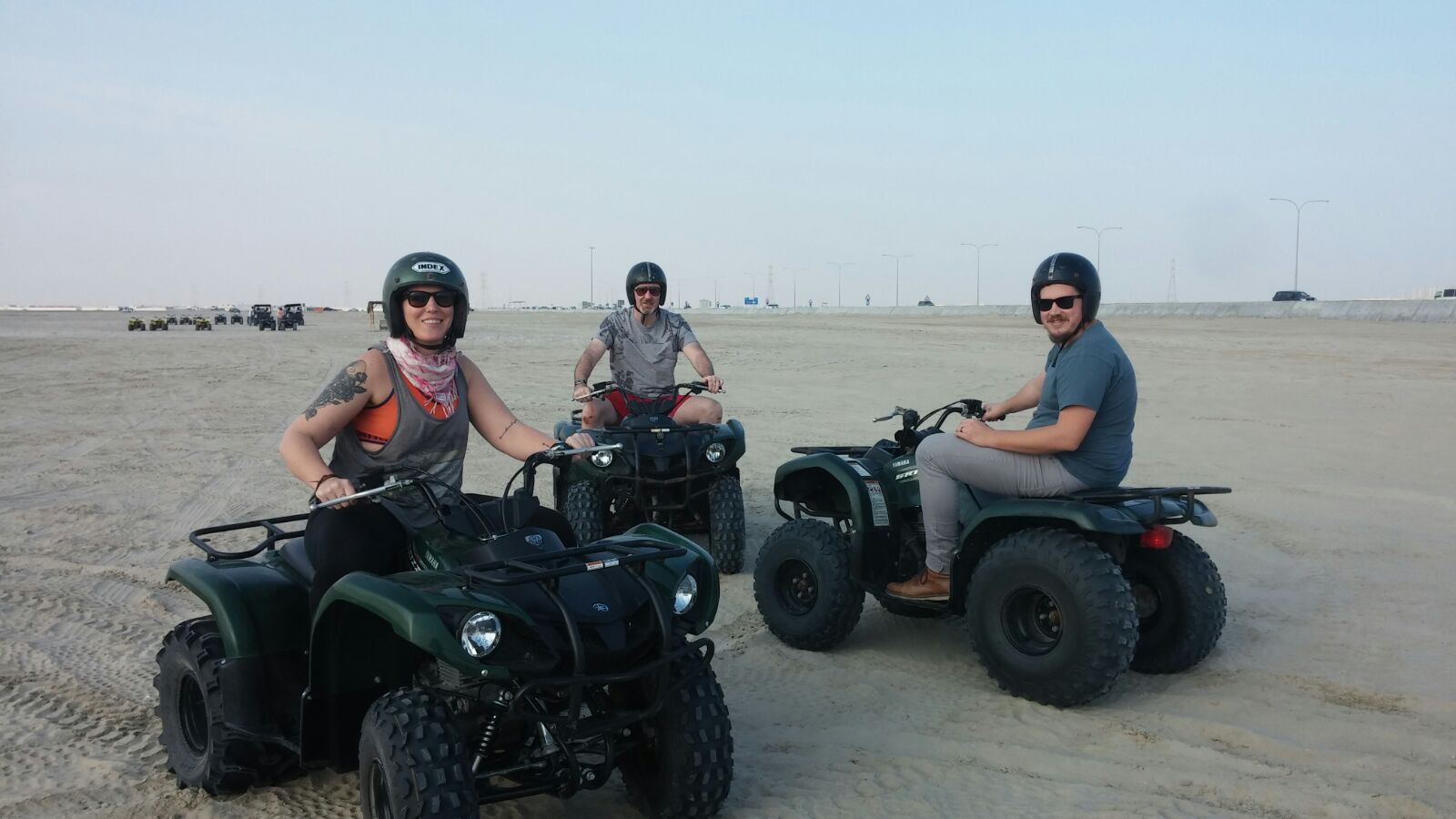 Totally not flipping the ATV's with Eddie. Doha, Qatar