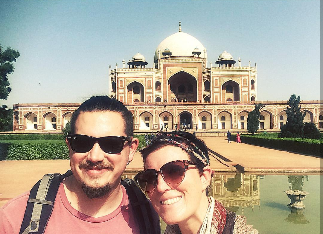 Justin being annoyed with me because I won't stop using my selfie stick. New Delhi, India
