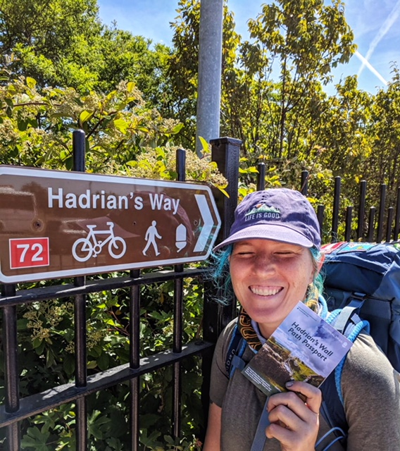 Excited to be hiking again! Here I am holding my Path Passport. Some trails will have something like this where you can stamp them along the way. Some, like the Camino, do it so that you can be let into the hostels/have evidence of your travels and some do it so you can get a certificate of completion. Some people think the certs are silly but I love them!