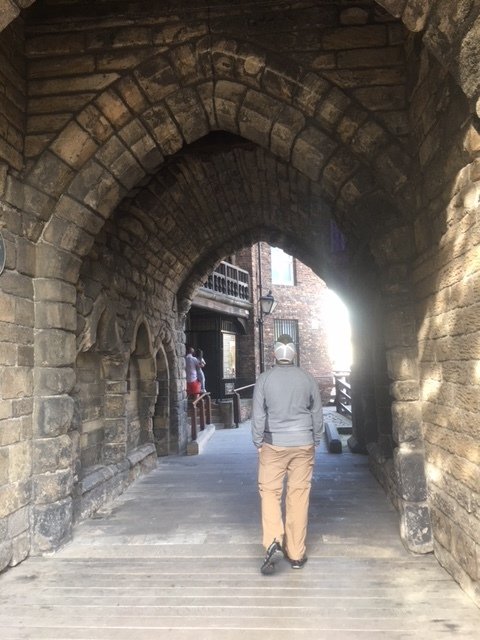 Admiring the castles in Newcastle upon Tyne.