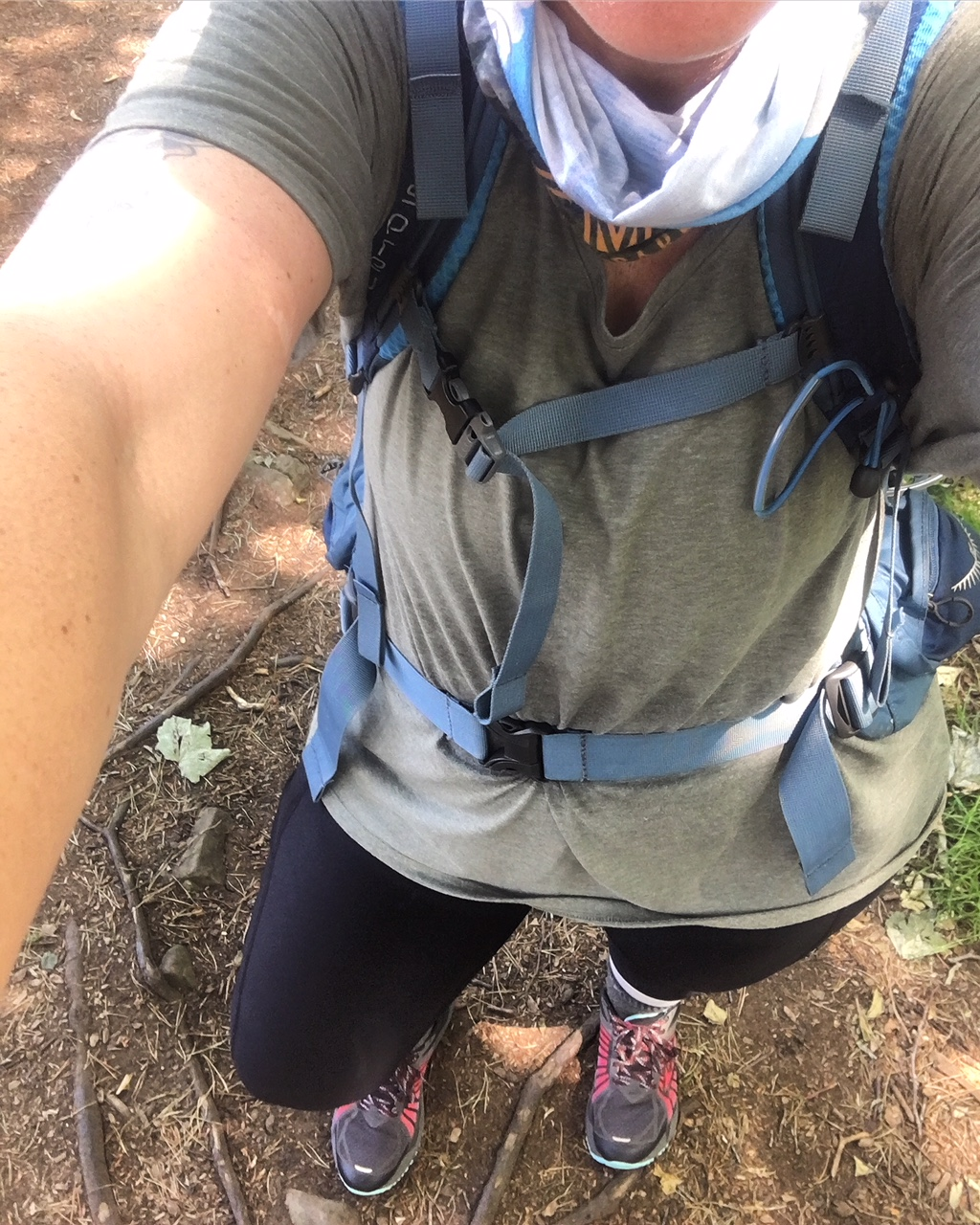 My hiking clothes. Fjallraven trekking tights, Columbia omni-freeze shirts, Brooks Caldera trail runners, Darn Tough hiking socks, Fox River sock liners and the Osprey Kyte 46.
