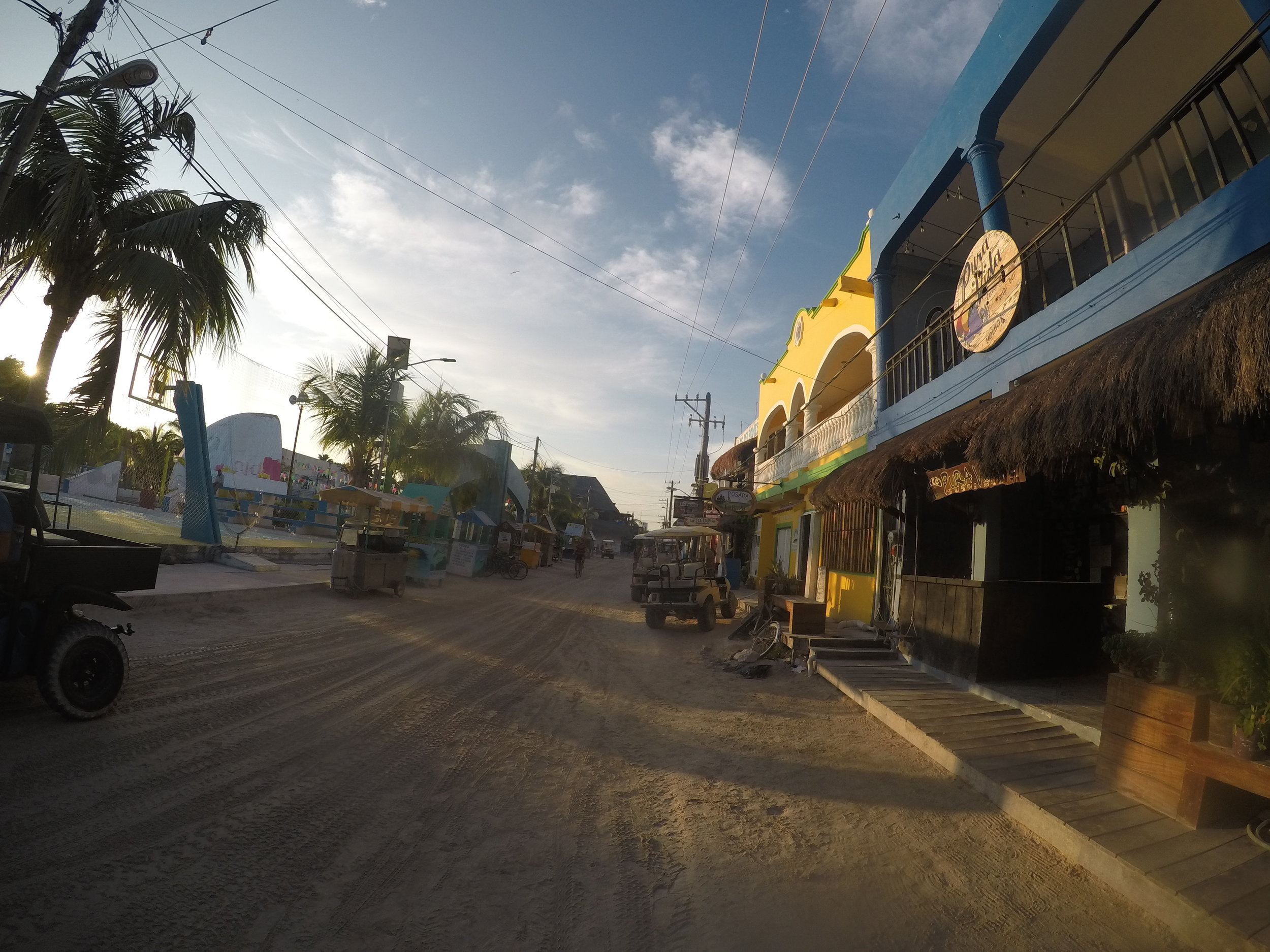 Early morning Holbox before the mass of golf carts begin to scoot around the island gathering whale shark tourists.