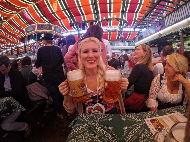 Here I am in the Marstall Festzelt. It was pretty chill but I did love their decor and their band.