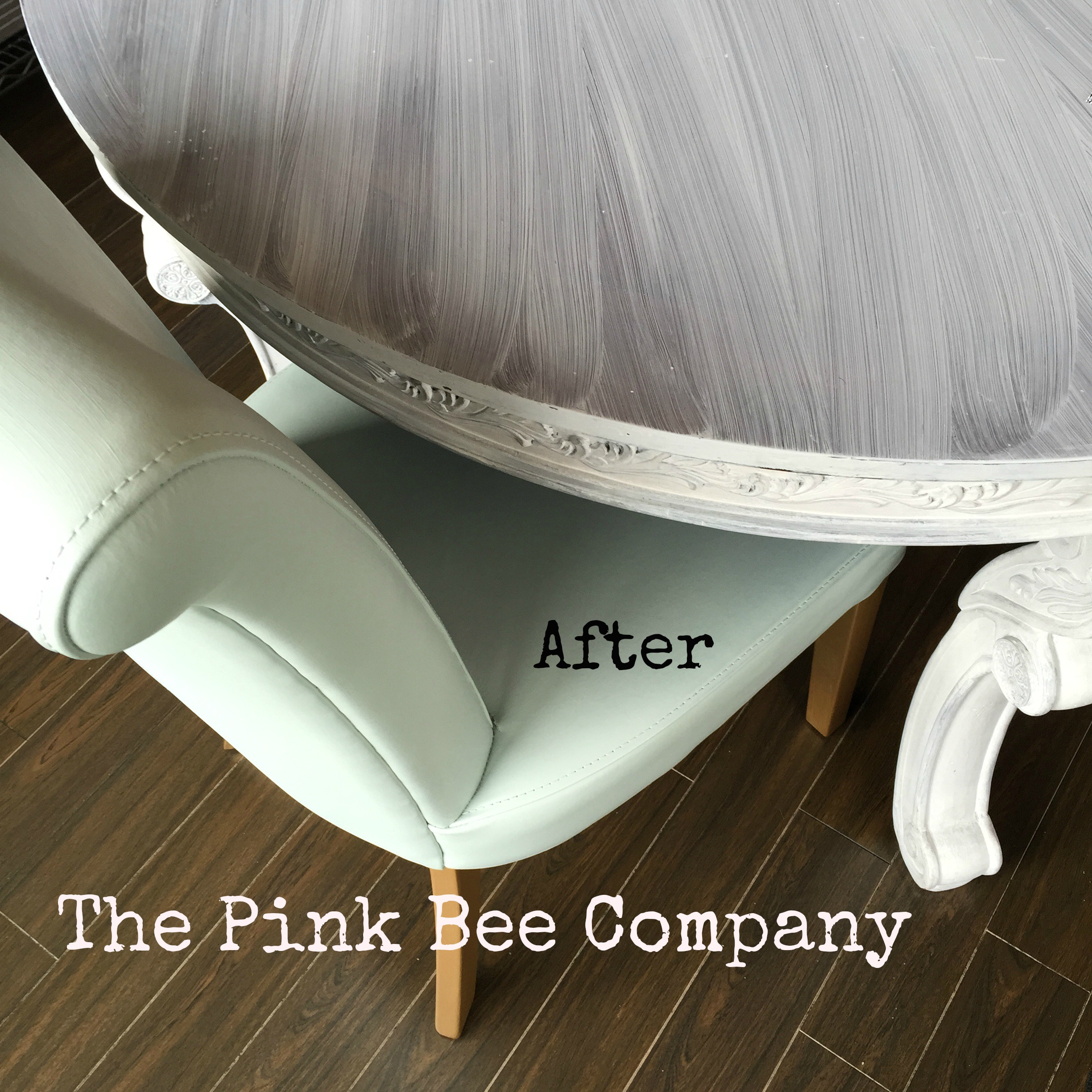 Leather chair painted in Inglenook Fusion Mineral Paint