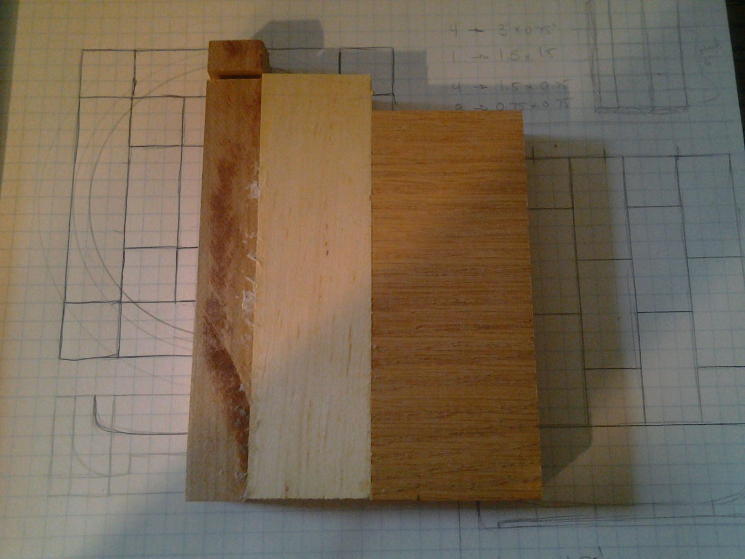 Red oak, maple, and cherry tray...