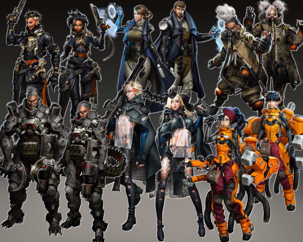 Character classes clockwise from top left: Gunslinger, Tactician, Demolitions Expert, Mechanic, Sniper, Vanguard