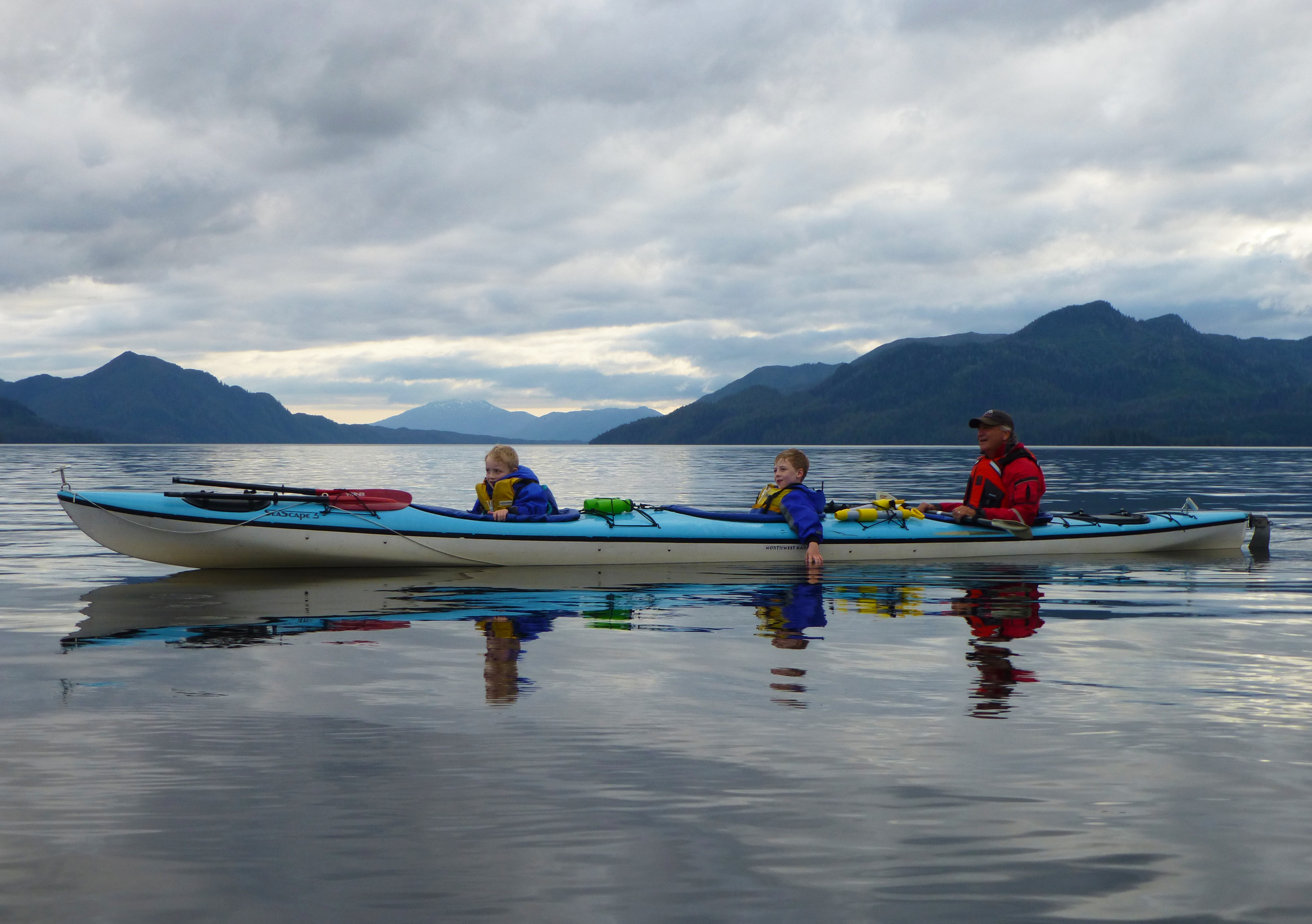 Family paddle in Thorne Arm in a Northwest Kayaks Seascape 3.