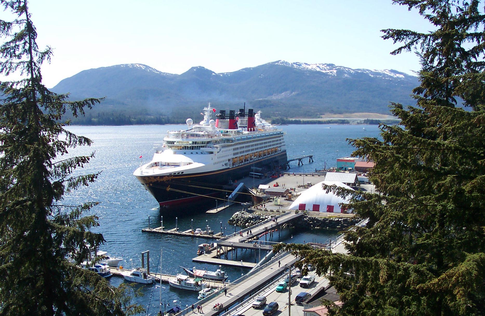 Disney Wonder at tied up at the cruise ship dock in Ketchikan