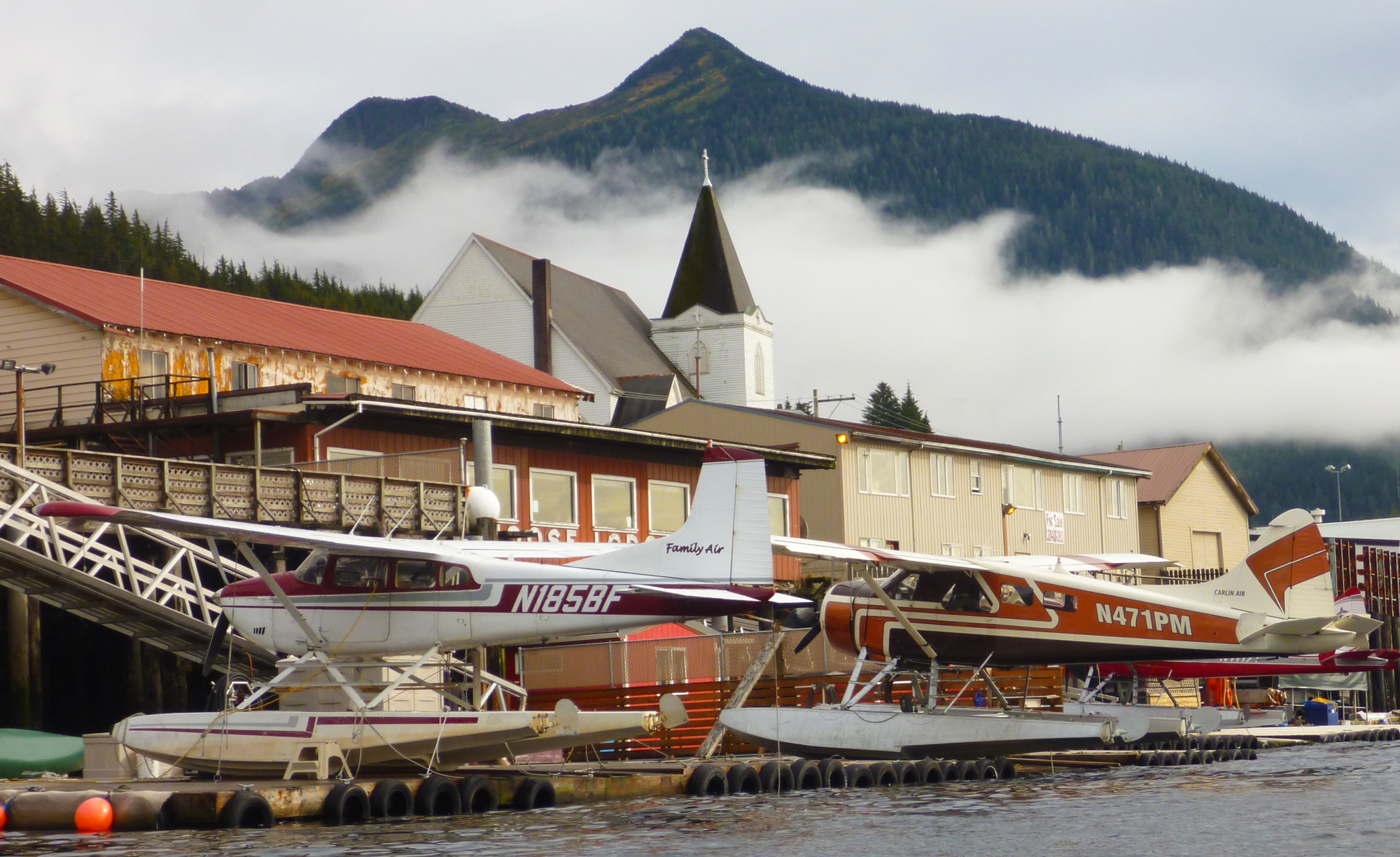 Family Air and Carlin Air seaplanes at their dock in downtown Ketchikan.