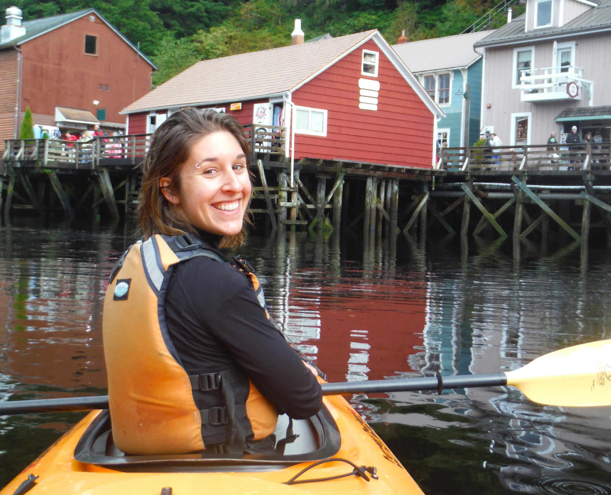 Brittany kayaking with the seals in the Ketchikan Creek.