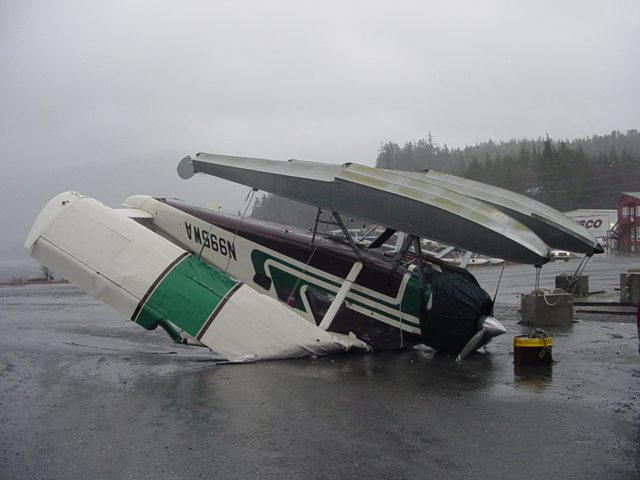 This float-plane broke free of its tie downs during a winter storm in 2003 and flipped upside down.